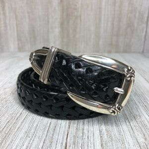 Fossil Black Leather Braided Embellished Buckle